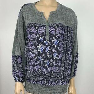 Style & Co Paisley Print Peasant Top